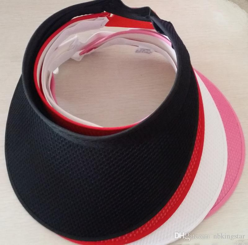 Large brim mesh clip on visors sun caps sport hat for women free shipping