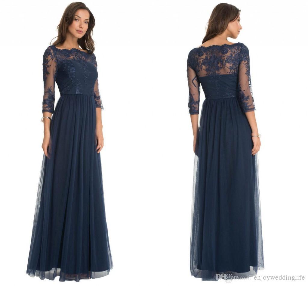 Großhandel Dark Navy Elegant Sheer Langarm Kleider Für Die Brautmutter  Spitze Applikationen A Line Tüll Lange Abendkleider Nach Maß Mutterkleider  Von