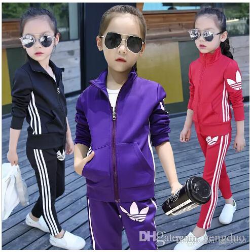 Abbigliamento per bambini Ragazze Imposta 2018 Neonate Autunno Cappotti Giacche Pantaloni Set Tute Moda Abbigliamento per bambini Abbigliamento sportivo per ragazza Abbigliamento sportivo