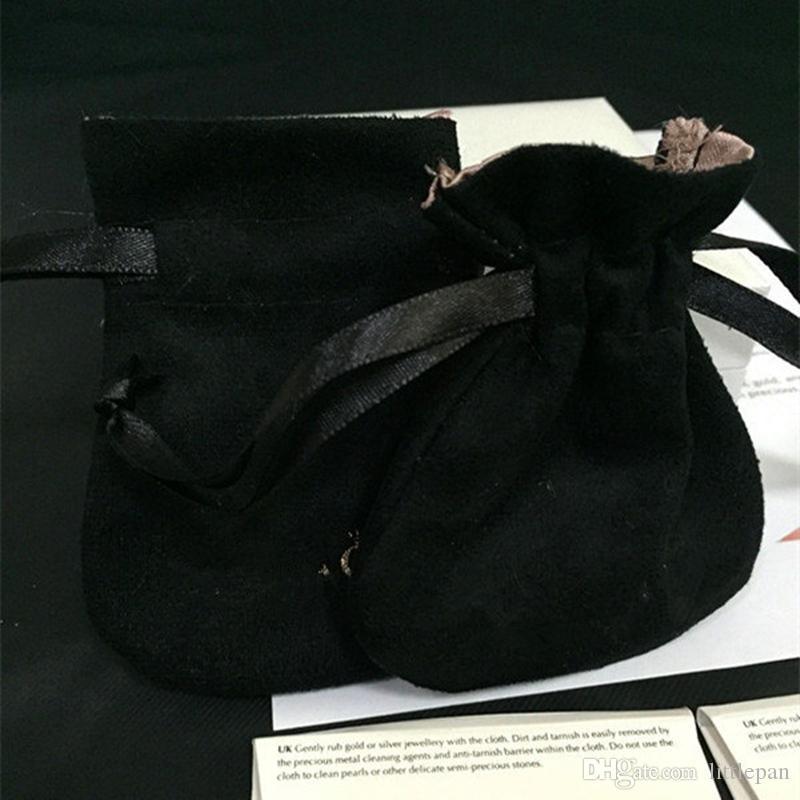 Style européen de remplacement de sac de poche de velours noir à deux couches rose européen pour pendentif de perle de charme de Pandora