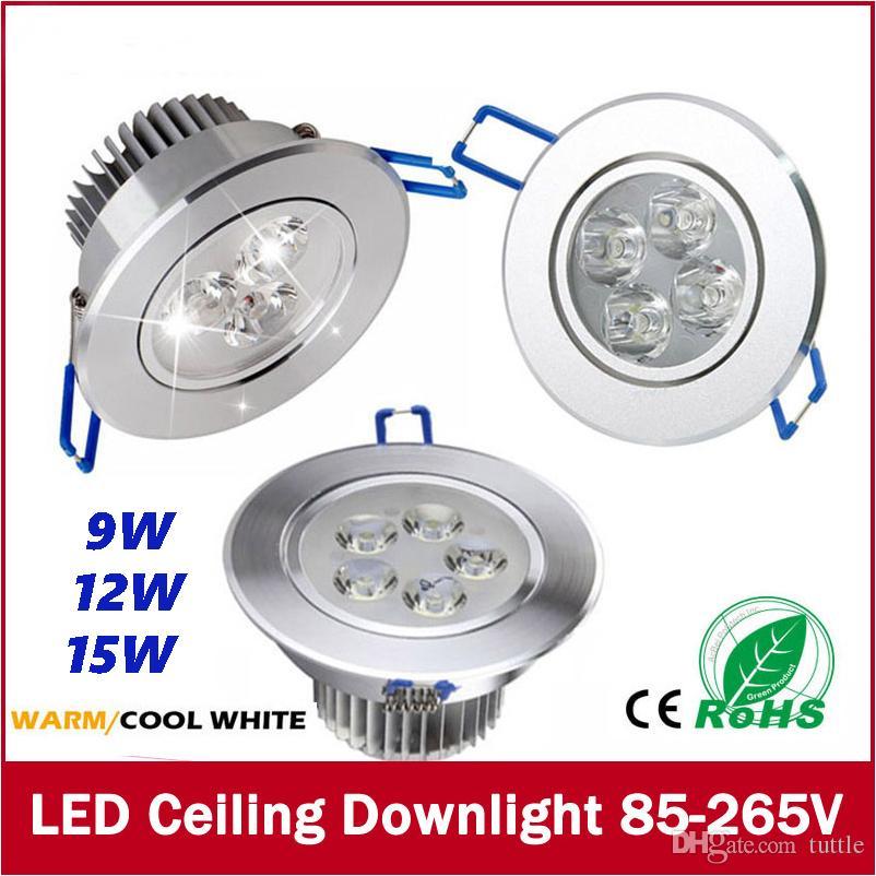 Бесплатная доставка 9 Вт 12 Вт 15 Вт светодиодный потолочный светильник встраиваемый светодиодный настенный светильник пятно света со светодиодной подсветкой для домашнего освещения AC85V-265V