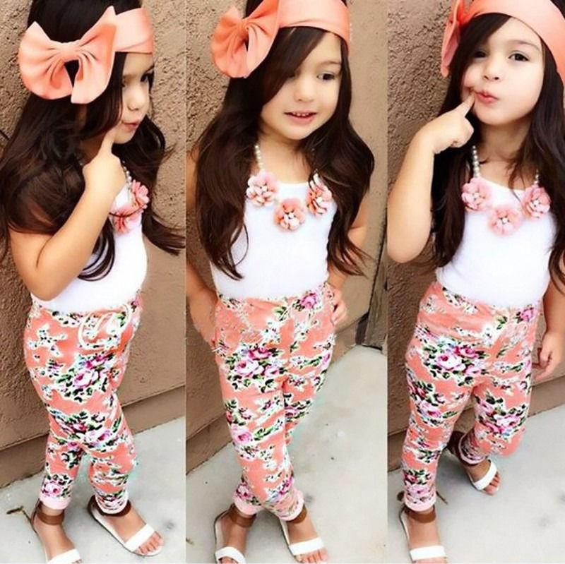 Wholesale- 2016 Floral Baby Girls Sun Tops T-shirt Pants Trousers Bow Hairband Outfits 3Pcs Set