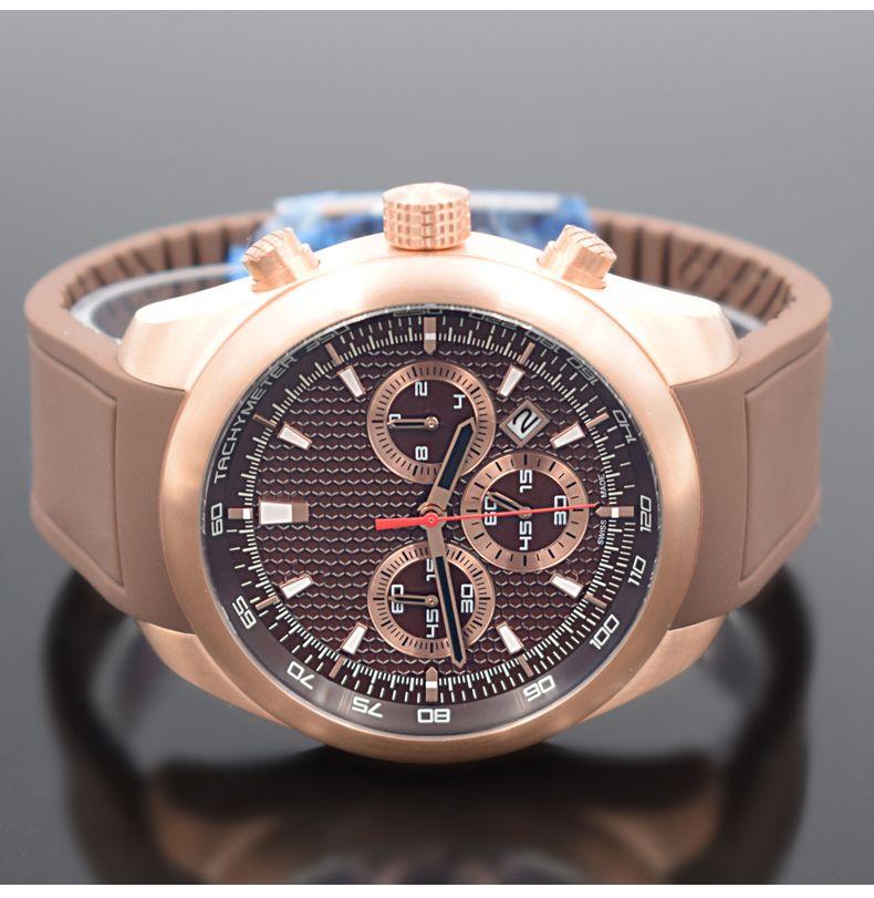 orologio di lusso Yarış araba özel sürüm mens saatler Kuvars hareketi Chronograph Luxusuhr İki tonlu çevirme Steel askısı Spor saatı