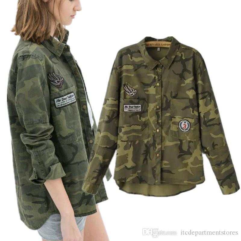 Женщины Камуфляж Рубашка Полиэстер Вышивка Зеленый Военный Камуфляж Рубашки Женщины Camisas Сорочка Homme