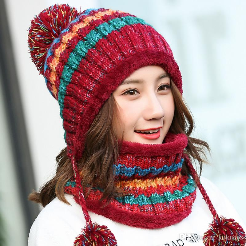 Kukucos Hat Winter Plus Knit Velvet Ear Fall Students Korean Version Tide Wild England Wool Hat With Warm Scarf Two Sets