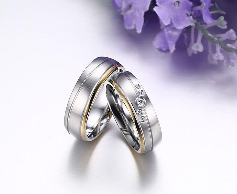 Pareja romántica anillos HersHis para la boda plateada plata Anillo de acero inoxidable a estrenar de los anillos de compromiso CR-111