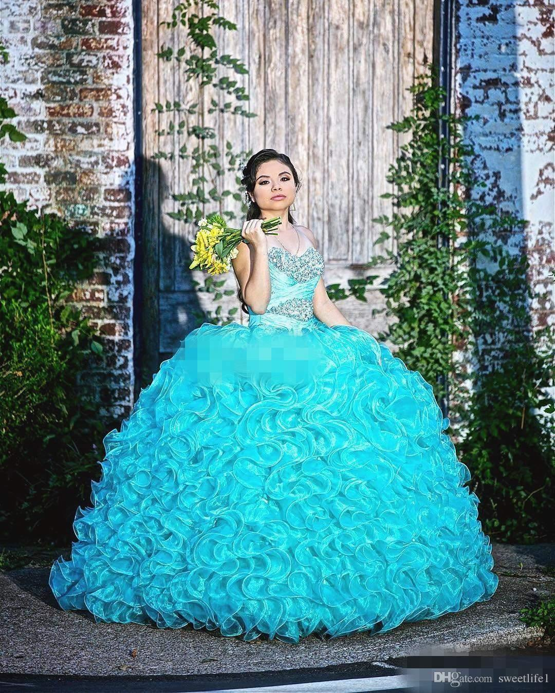 2019 Turquoise Sweet 16 Debuttanti Party Queen Dresses Sweetheart Crystals Beaded Ruffles Organza Corsetto Back Plus Size Abiti Quinceanera