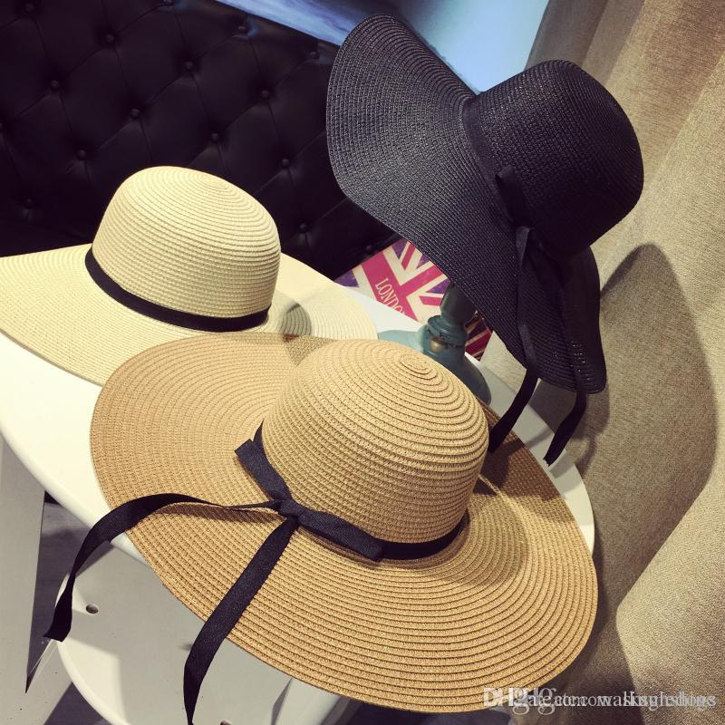 Women Large Floppy Foldable Straw Hat Boho Wide Brim Beach Sun Cap 3 Colors with Bow Summer Holiday Free Shipping