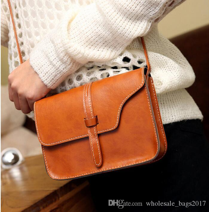 Simple Design Fashion Women Shoulder Bag Cross Body Bags Lady Girls Vintage PU Leather Fashion Bags 9 colors