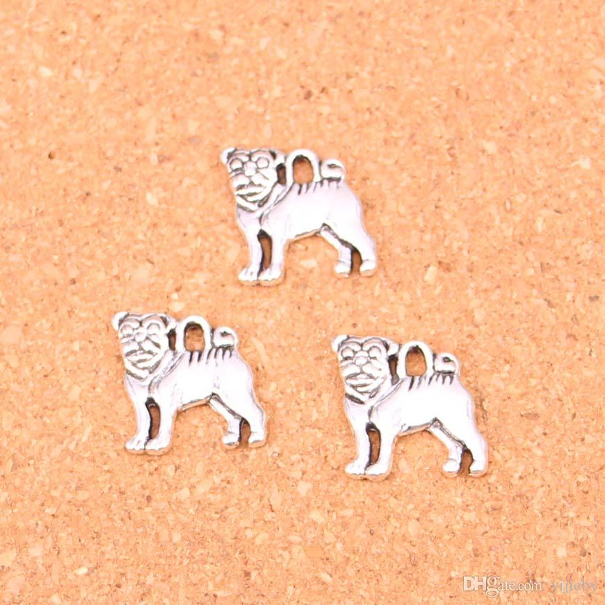 Wholesale 80pcs Fashion Antique silver dog charms metal pendants for diy jewelry findings 16*15mm