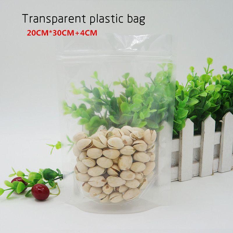 20 * 30 + 4cm Sacchetto in plastica trasparente per stand / impermeabile e antipolvere, custodia per cellulare, sacchetti per alimenti. Spot 100 / pacchetto