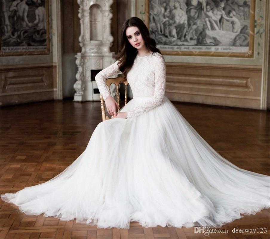 س الرقبة تول الرباط كم طويل فستان الزفاف الأنيق تول فساتين العروس الوهم عودة مخصص رداء دي خطاباتخطابهزوجات