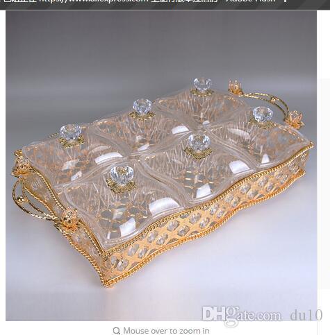 kapak ile stok 6 bölmeli Kuru meyve kafeste modern oturma odası dekoratif el sanatları hediyeler Fam süsleme dekorasyon Altın gümüş alaşım