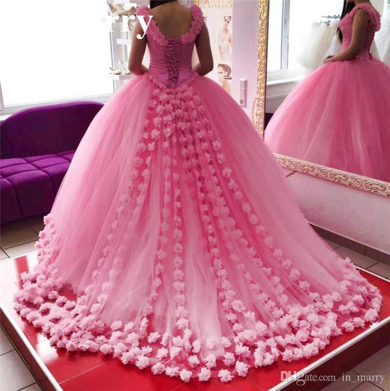 Pink 3d Floral Ball Gown Quinceanera Prom Dresses 2017 Off Shoulder ...