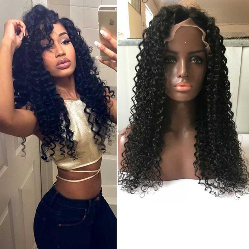 Tutkalsız Tam Dantel İnsan Saç Peruk Kinky Kıvırcık 100% Siyah Kadınlar Için İşlenmemiş Brezilyalı Bakire Saç Dantel Ön Peruk