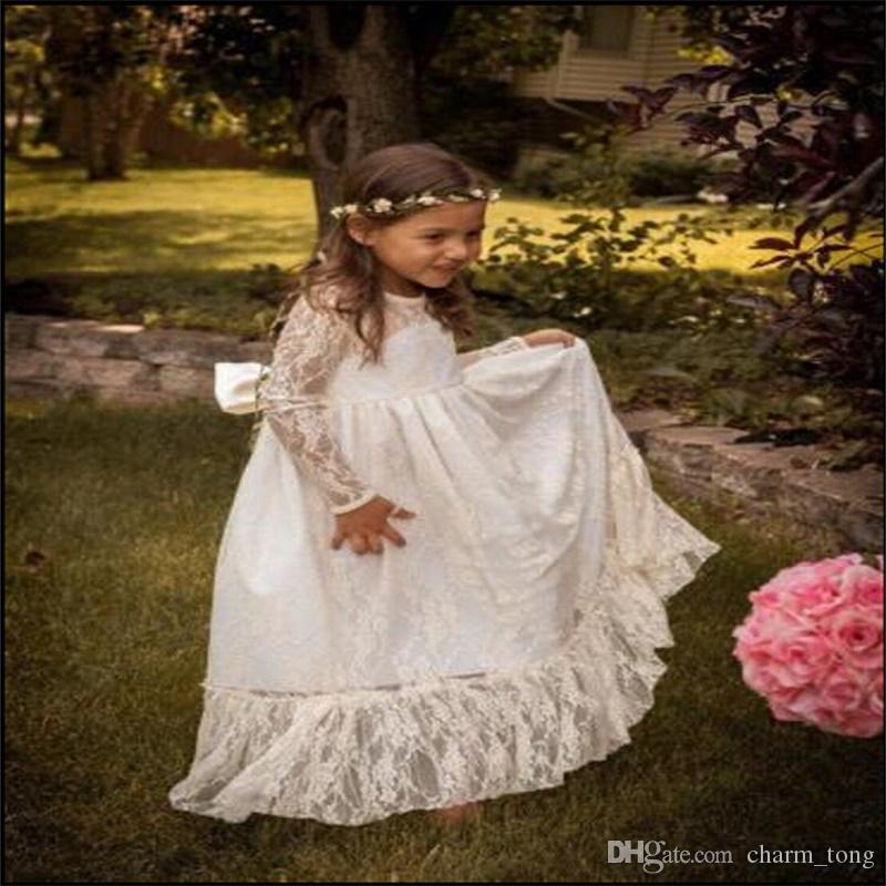 Robes fille fleur avec Bow manches longues princesse robe de soirée de mariage Communion Pageant robe pour les petites filles Robe Enfants / enfants