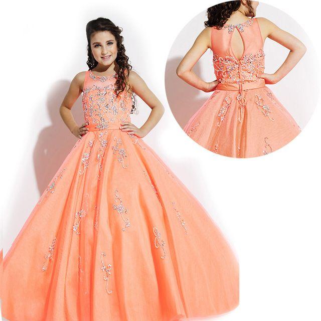 Orange Peach Color Kids Beauty Pageant Dresses For Little Girls ...