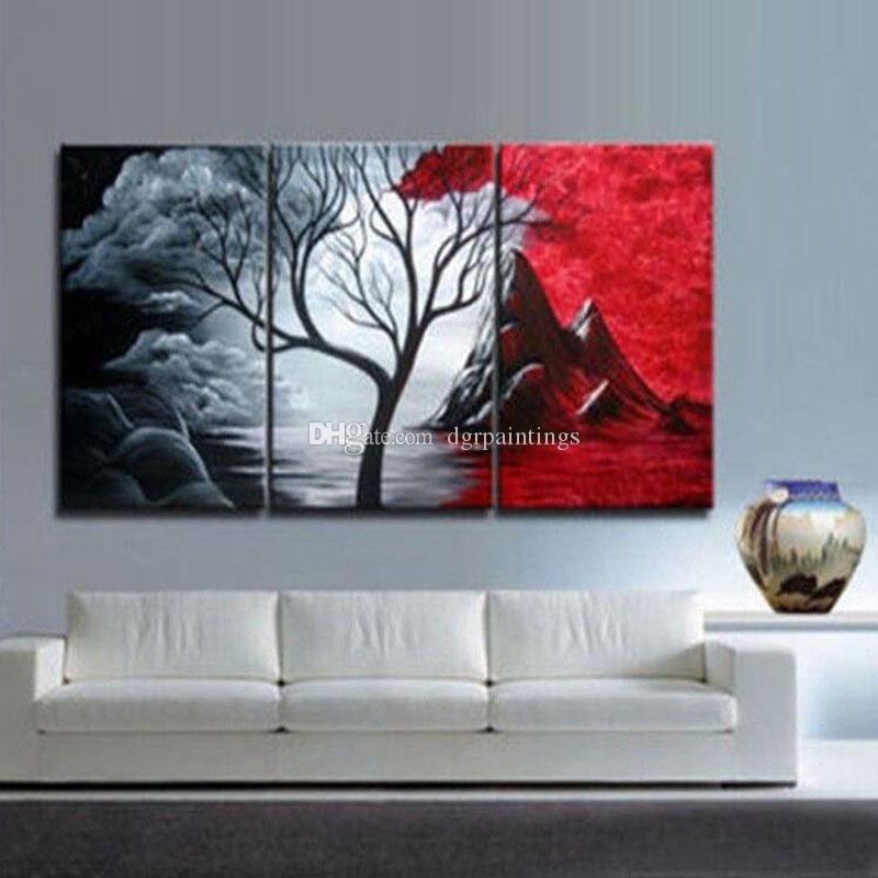 Framed 3 Panel Wall Art Beautiful Landscape Canvas Oil Painting Set 100% Handpainted Home Living Room Decor Pictures Tree ML19
