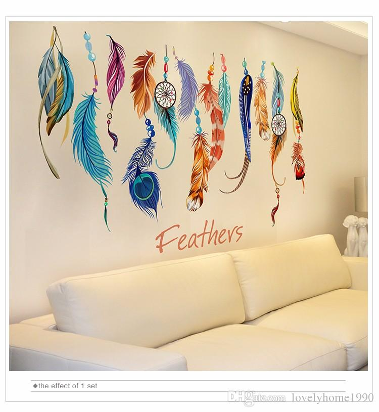 Adesivo da parete piuma rimovibile Colorful Plumage coreano Dreamcatcher Decalcomanie da muro per soggiorno Camera dei bambini Decorazione