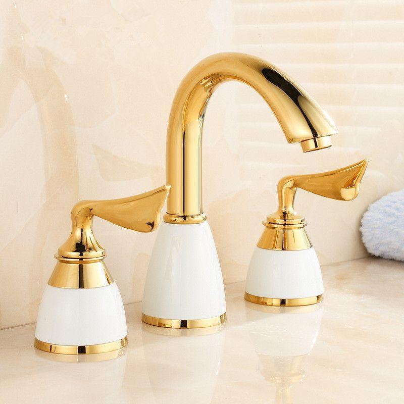 Luxury 3 piece Set Faucet Bathroom Mixer Deck Mounted Sink Tap Basin Faucet Set Golden Finish Mixer Tap Faucet Set ceramic