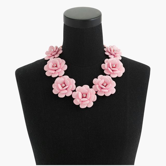 원래 새로운 패션 Maxi 꽃 초커 목걸이 여성 버블 멀티 레이어 크리스탈 성명 목걸이 여성 쥬얼리 파티 선물