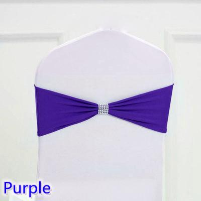 Purple colour tie bands Lycra sash chair sash Bow tie ribbon For Wedding Party Banquet Decoration for sale with shiny belt