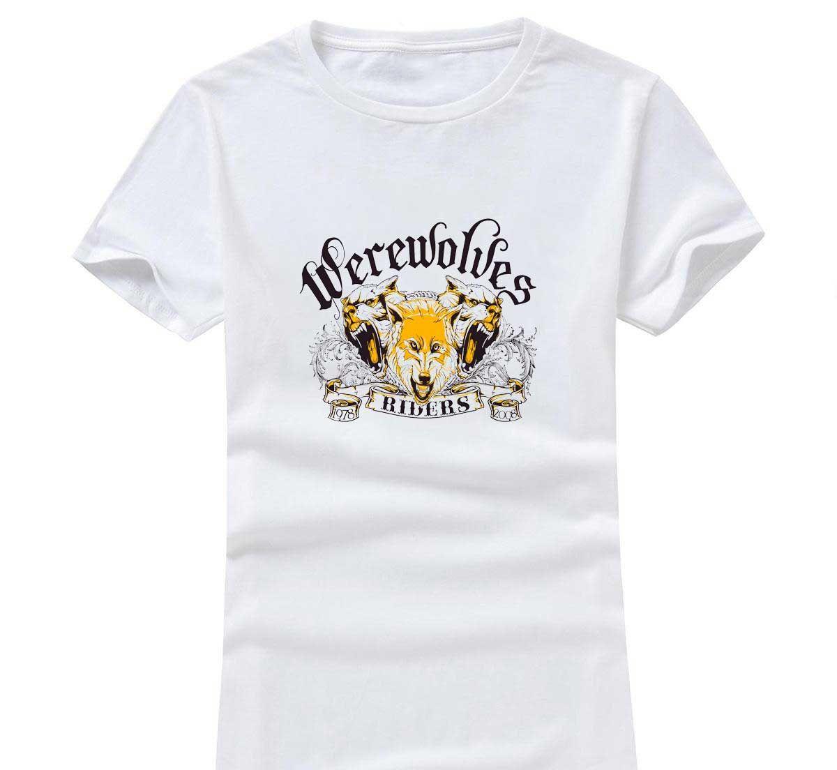 Wolf Rider 2020 Новая одежда Мода Женщины / Мужчины Хлопок O шеи с коротким рукавом печати вскользь футболки рыхлой персонализированный уникальные тройники оптом