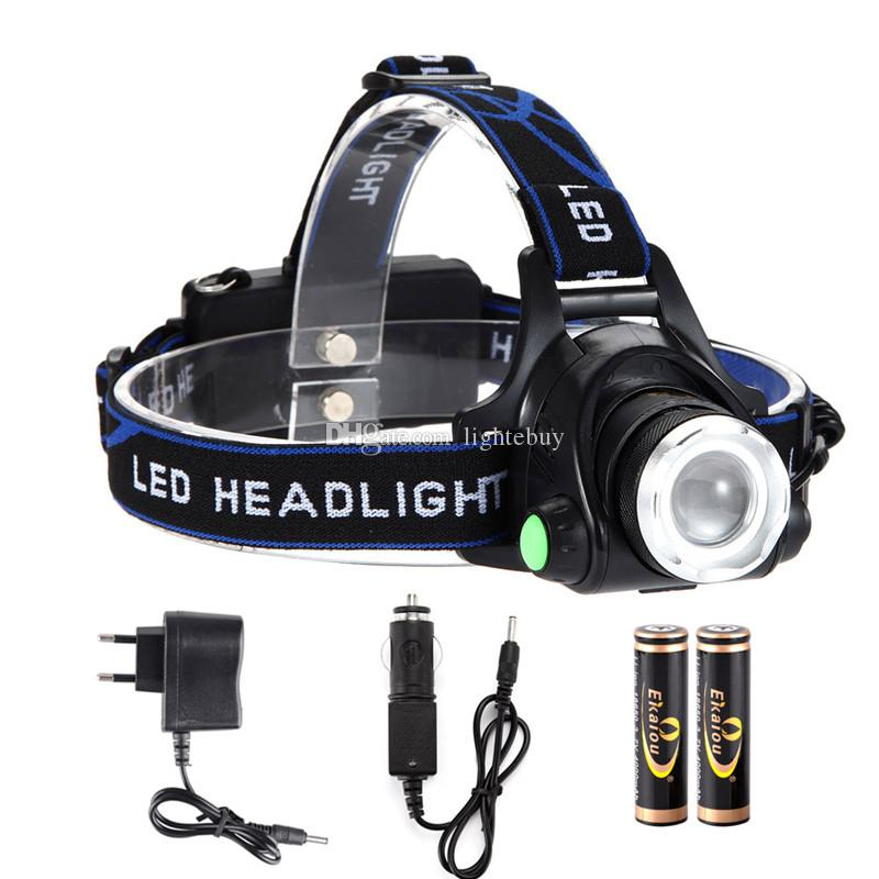 XML T6 Zoom LED Headlamps Lamp Light Zoomable Adjust Focus flashlight For Bicycle Camping Hiking kit with 2x 18650 Battery Charger box