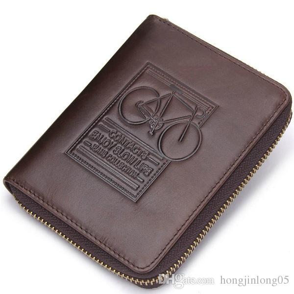 남성 지갑 정품 가죽 브랜드 디자인 지퍼 지갑 자전거 인쇄 디자이너 망 동전 지갑 돈 주머니 M2005와 함께
