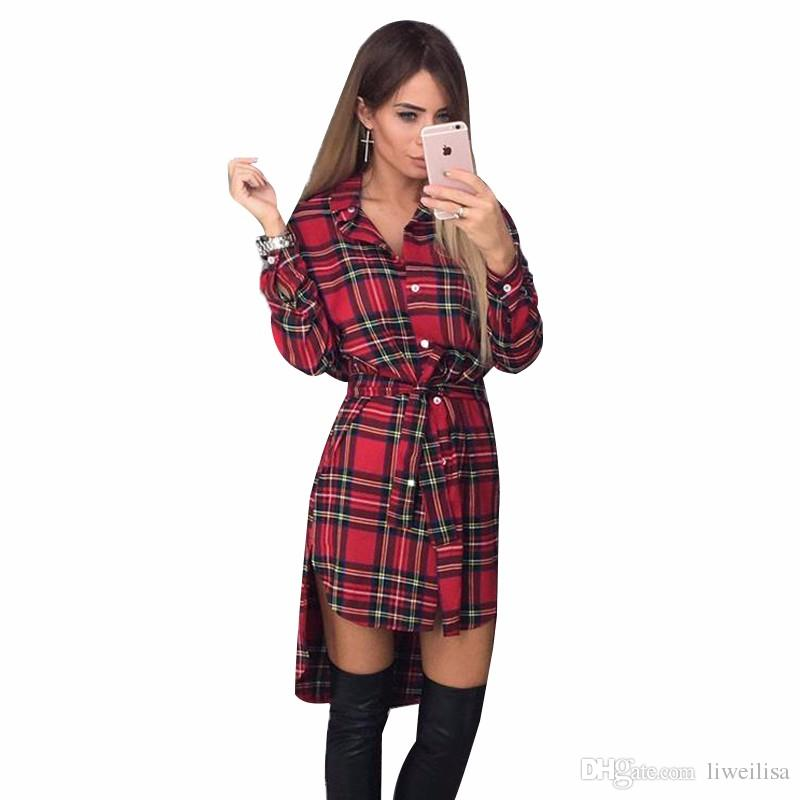 real quality famous designer brand cheaper sale NEW Women Dress Sexy Long Sleeve Office Dress Irregular Plaid Shirt Dresses  Women Clothes LJ5932E Canada 2019 From Liweilisa, CAD $17.59 | DHgate ...