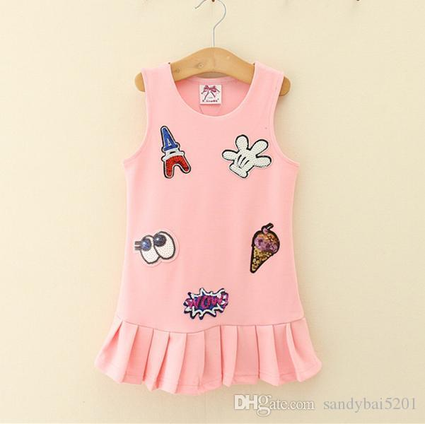 Kids Girls Cartoon Dresses Baby Girl Sequined Vest Dress Infant Princess Sleeveless Dress for Party 2017 Children Boutique Clothes B332