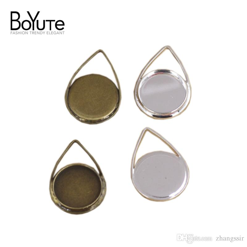 BoYuTe 40Pcs 12MM Waterdrop Shaped Cabochon Base Setting Antique Bronze Silver Plated Pendant Bezel Blank Tray Diy Jewelry Accessories