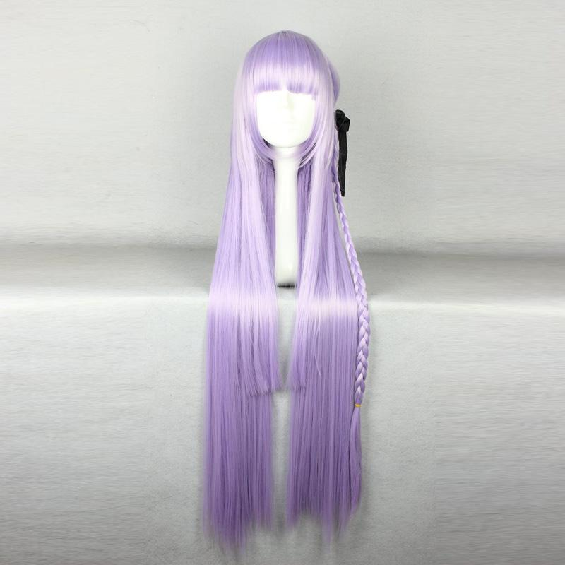 MCOSER Danganronpa Kirigiri Kyouko 100 cm Lungo Estendere Dritto Parrucca Cosplay Parrucca Cosplay Donne Sintetiche Viola Chiaro