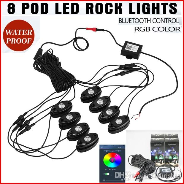 "Набор из 8 стручков RGB LED Rock Light Kit 3 ""9W 3LED Cree Chips Bluetooth Control Music Flash Синхронизация цветов Изменение цвета для внедорожника JEEP Yacht 12V"