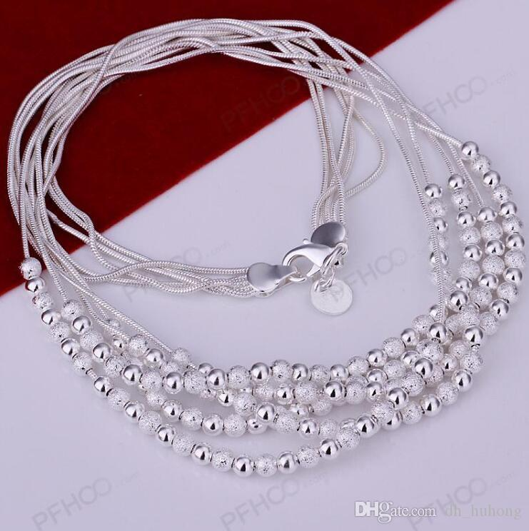Hot Sale! High Quality Plated Silver Necklace, Fashion Jewelry Frosted and Smooth Beads Five Lines Snake Chain Necklace KDN231