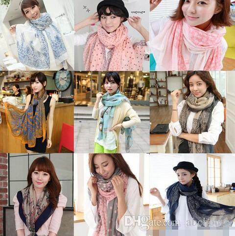 Ücretsiz Kargo 170 * 80 cm Sonbahar vintage ipek eşarplar kadınlar casual muhteşem baskı eşarp şal wrap 20 Renk ADEDI 20 adet