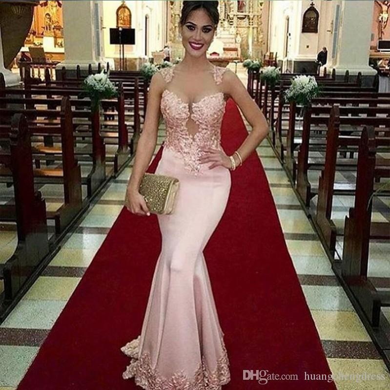 2019 Modest Rosa Sereia Vestidos de Noite Longa Ilusão Corpete Apliques Sexy Árabe Vestido Formal Vestido de Noite Barato Vestidos De Festa prom