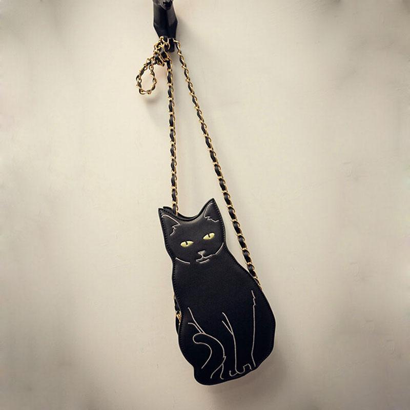Venta al por mayor- Diseño de moda 2016 mamá y niños Chase Bag cute cat woman cross body bag animal black lady bandolera, WY1619