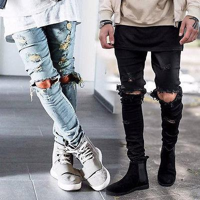 Wholesale-Mens Ripped Skinny Straight Slim Elastic Denim Fit Biker Jeans Pants Long Pants Stylish Straight Slim Fit Jeans