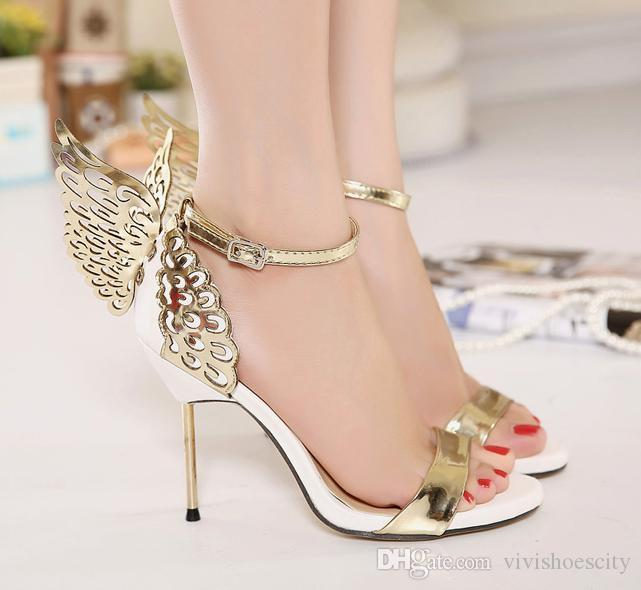 9a8c21531e232 2017 Summer Sophia Vampire Diaries Fantasy Butterfly Wing High Heel Sandals  Gold Silver Wedding Shoes Size 35 To 40 Suede Shoes Pumps Shoes From ...