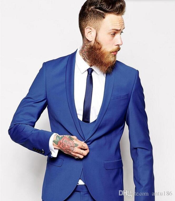 Custom Made erkekler takımları Kraliyet Mavi erkekler Klasik Damat Smokin Blazer Erkekler Balo Tux Damat (Ceket + Pantolon + Yelek)