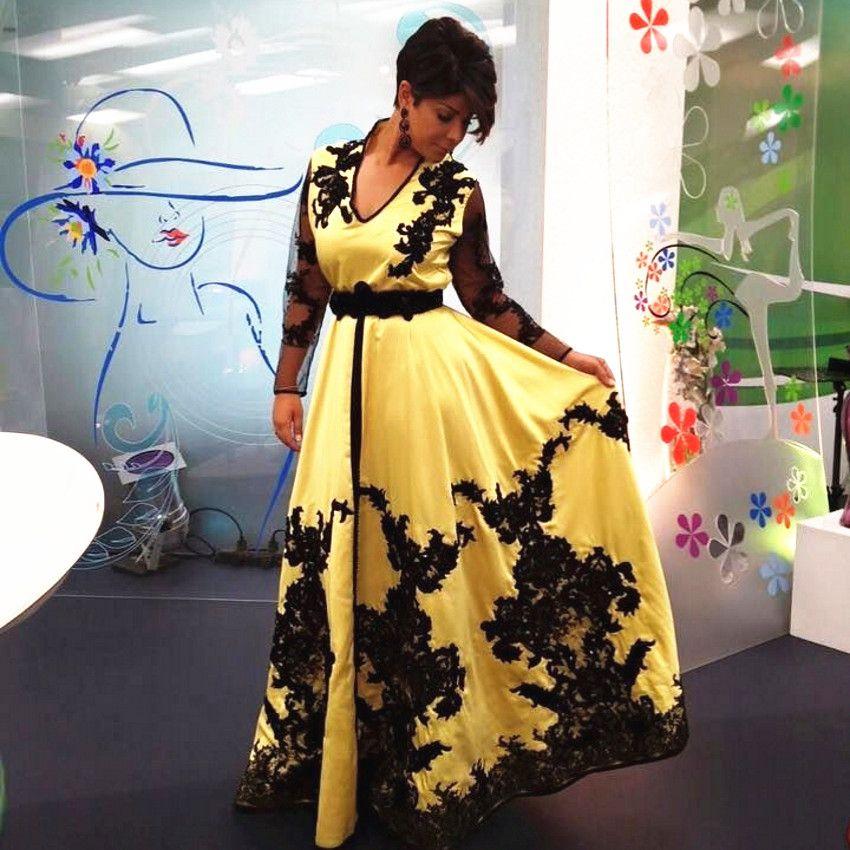 Vestidos de noche musulmanes amarillos y negros Manga larga Cuello en V Diseño modesto Apliques Encaje Vestidos de fiesta de moda Tamaño personalizado