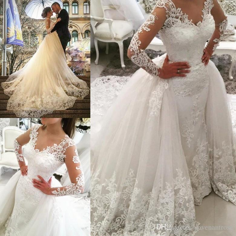 Modest Lace Wedding Dresses with Detachable Train Long Sleeve V Neck Over Skirt Bridal Gowns Backless Custom Made