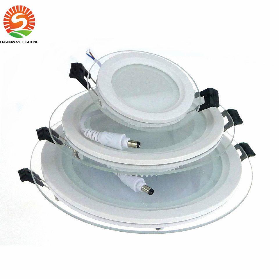 Dimmable LED панель Downlight 6W 12W 18W Круглая площадь стекла потолочные встраиваемые огни SMD 5730 Теплый Холодный белый свет водить AC85-265V