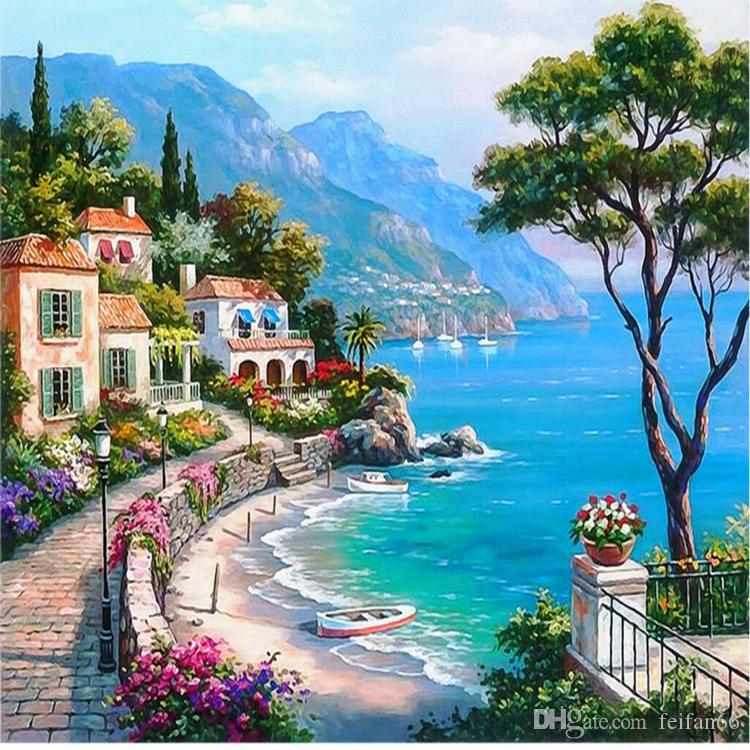Jardín de la costa mediterránea Foto personalizada Rollo de papel de pared Sala de estar TV Fondo 3D Papel tapiz mural de las paredes 3 d