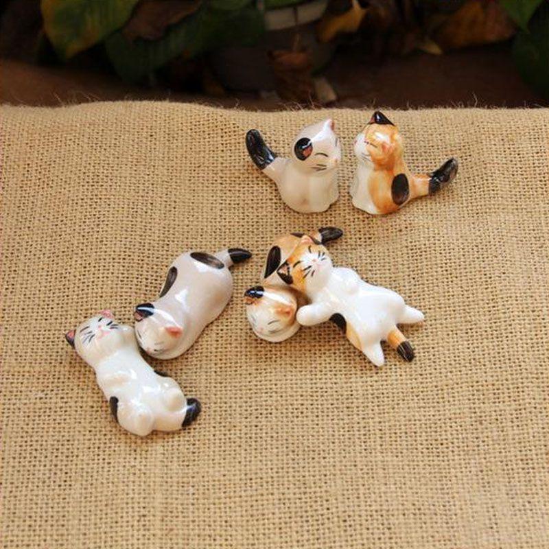 Artificial mini cat porcelana ornamento fada jardim miniaturas gnomos musgo terrário decoração resina artesanato bonsai casa decoração para DIY