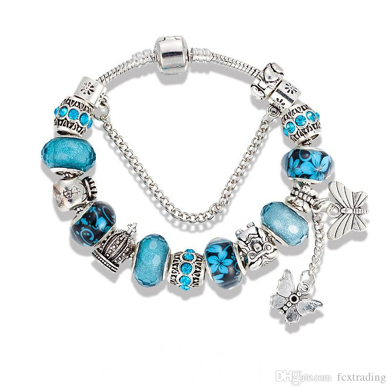 Charme Armband 925 Silber Armbänder für Frauen Royal Crown Perlen Schmetterling und Eule und Blume Charms DIY Schmuck Weihnachtsgeschenk