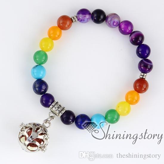 Pulseira chakra frisado medalhão charme pulseira 7 chakra balanceamento de jóias árvore da vida jóias contas de oração hindu