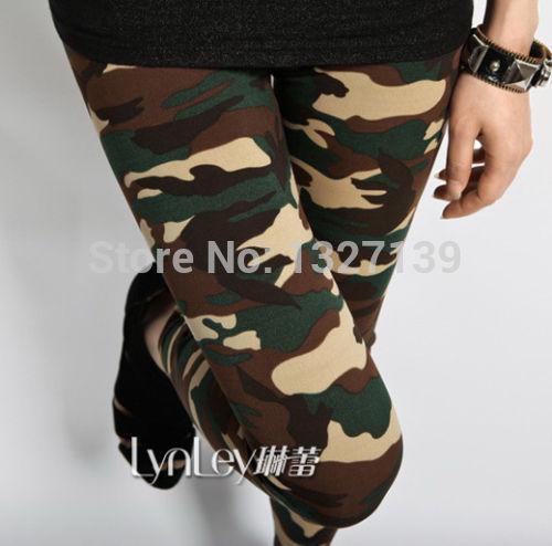 Donne Sexy Leggings Army Green Verde Camouflage Stampato Pantaloni Elastic Slim Pantaloni Pantaloni #