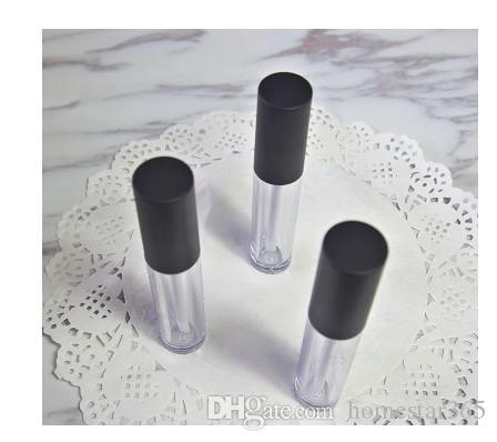 Tubo vacío del labio del labio de la nueva forma redonda de 6.5ML, tubo elegante del lápiz labial del claro de DIY con el casquillo negro, maquillaje labial de alto grado